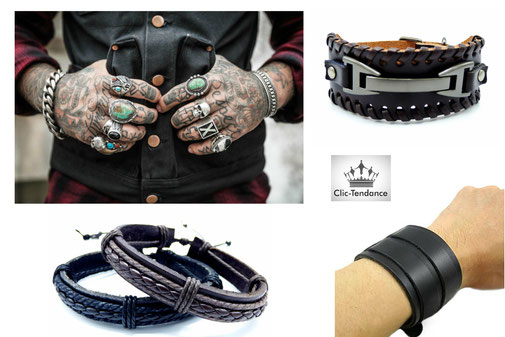 bracelet cuir accessoire de mode  au masculin