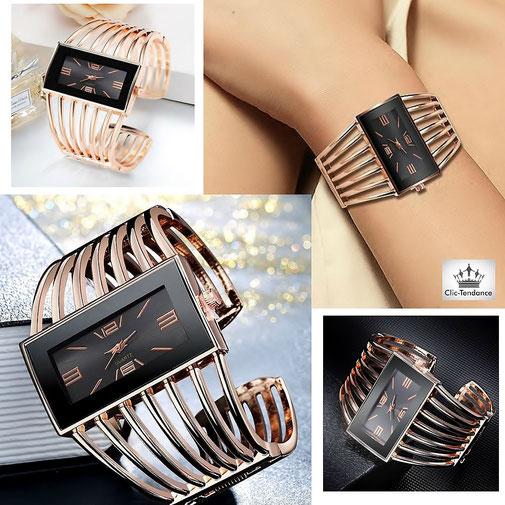 montre femme tendance bracelet acier or rose cadran verre noir pailletté argent