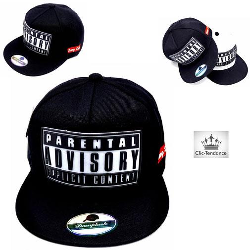 casquette de hip hop noire parental advisory black style rappeur americain