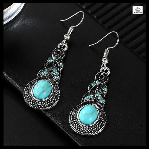 boucles d oreilles ethnique fantaisie argent vintage turquoise  bohemian gispsy style tibetain