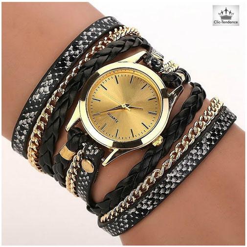 montre femme pas cher bracelet multirangs cuir tréssé noir-peau de serpent- chainette or et cadran doré