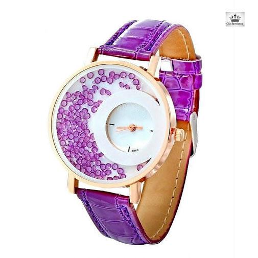 montre femme pas cher en solde colorée violette bracelt cuir