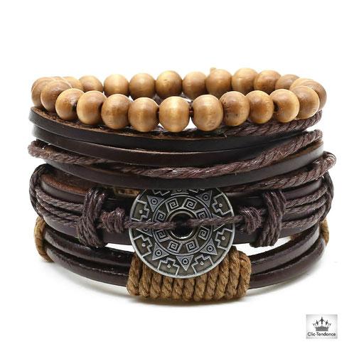 bracelet cuir homme style urbain casual et fashion avec  cordelette tresse - laniere cuir et bille bois