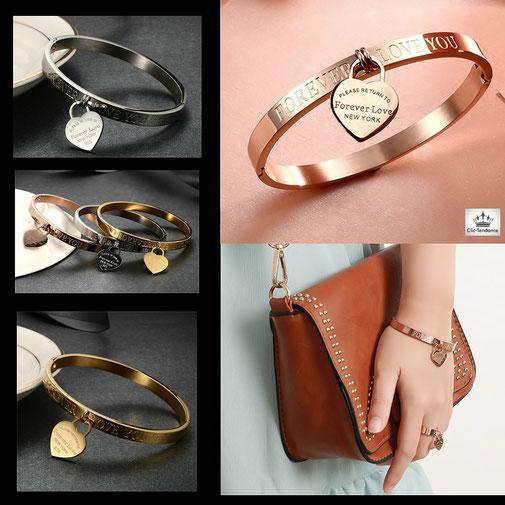 bracelet Jonc Femme Luxe , Or Rose et coeur gravé cadeau d'amour pour femme