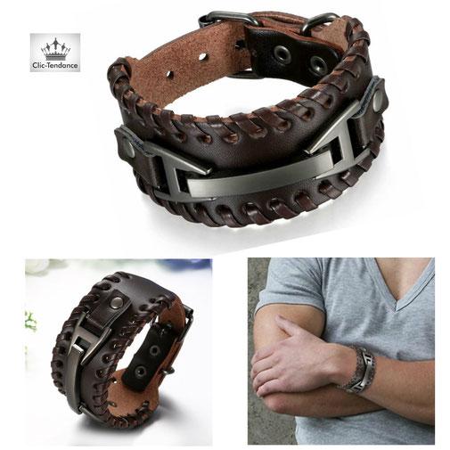 bracelet de force cuir pour homme