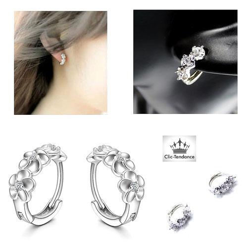 boucle d'oreille femme fleur de cristal or ou argent bijou luxe pas cher