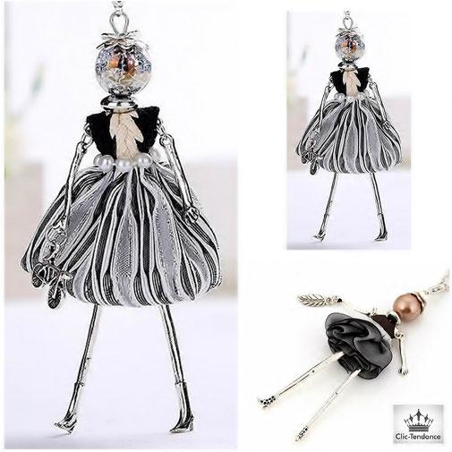 Collier Poupée Sautoir fantaisie et original pendentif personnage articulé bijou damier noir et blanc sur chaine argent