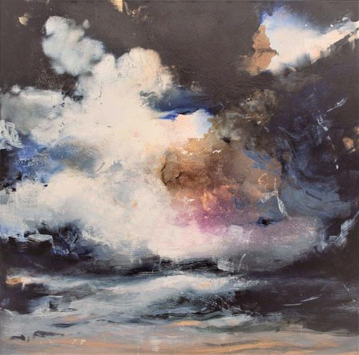Nuvole 1 olio e foglia oro su tela cm 100 x 100