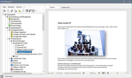 Textbausteinverwaltung mit Textbausteinvorschau
