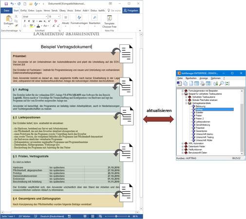Textbausteine im Dokument updaten