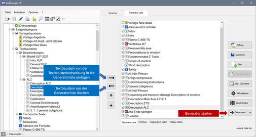 Dokumentengenerator mit Textbausteinverwaltung und Generatorliste