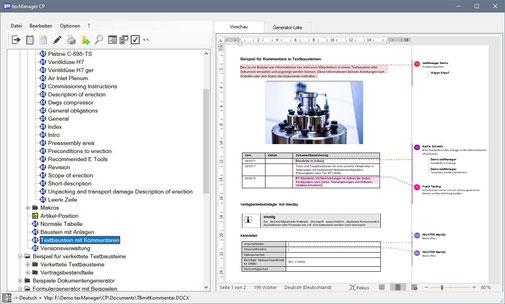 Textbausteinverwaltung mit Dokumentengenerator
