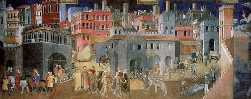 Lorenzetti  Ambrogio, Effets du Bon Gouvernement dans la ville, 1339, (fac-simile de la fresque de Sienne, Palais Public)