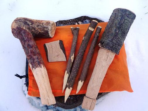 Hammer, Heringe, Spaltkeil