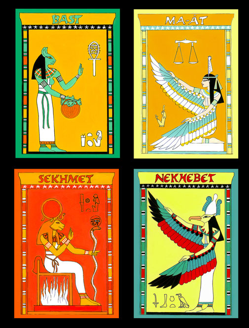4 Egyptian Goddesses Meditation cards with images and hieroglyph