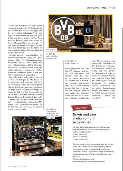 Artikel Kaffeekooperation mit Arena / Cooking Catering Inside 2/2020