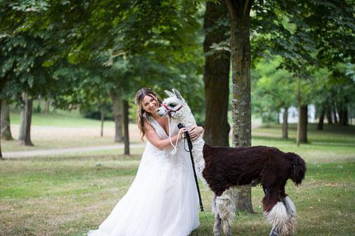 Eine Braut mit Lama im Schlosspark des Schloss Philippsruhe in Hanau.