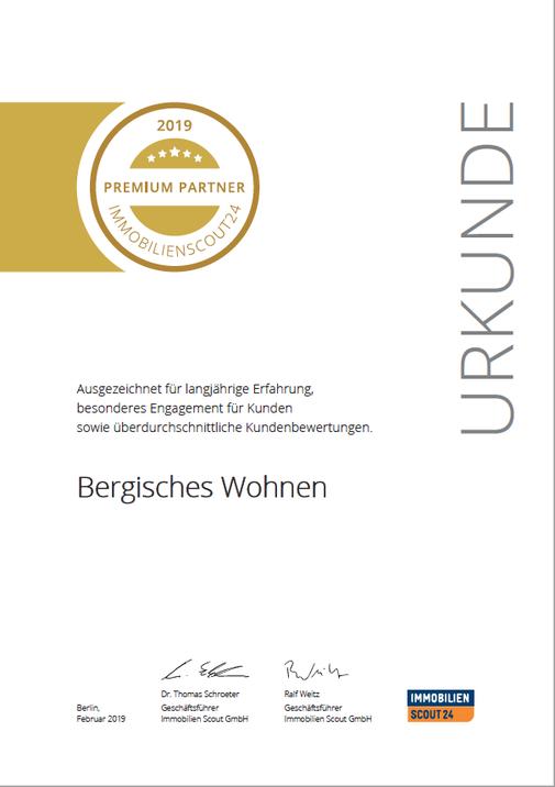 Premium Partner Bergisches Wohnen Auszeichnung 2018 Immobilienmakler Ulrike Peters