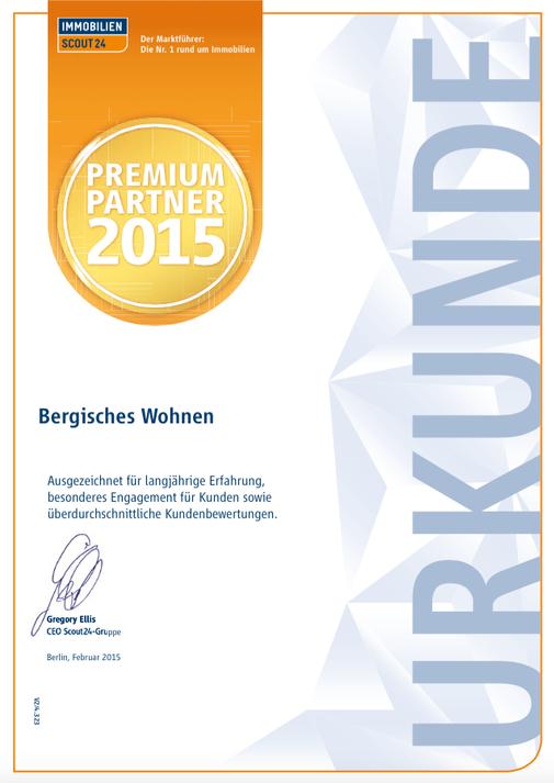 Premium Partner Bergisches Wohnen Auszeichnung 2015 Immobilienmakler Ulrike Peters