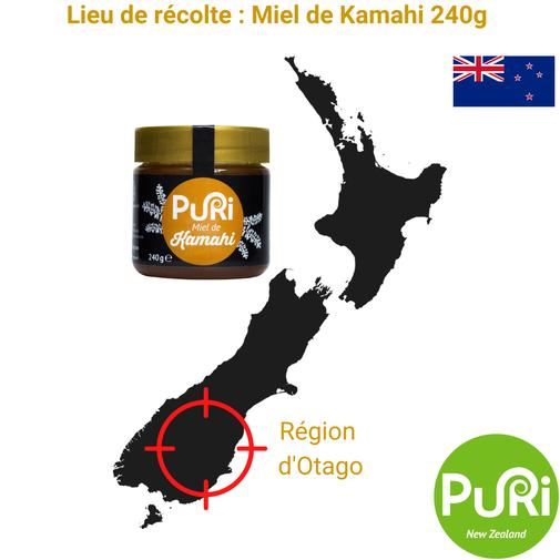 Lieu de récolte Miel de Kamahi 240g Puri New Zealand Otago
