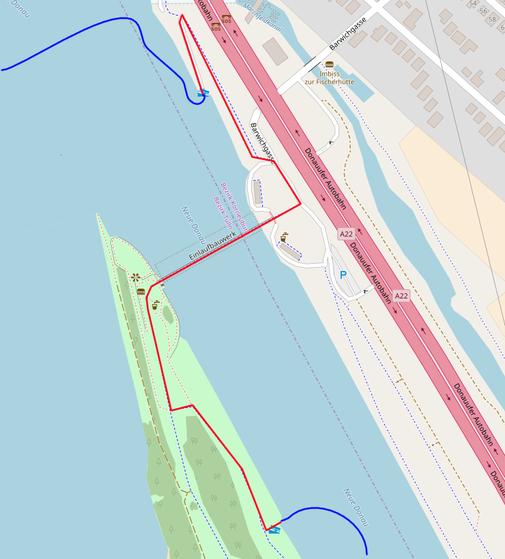 Skizze für das Umtragen beim Einlaufswehr der Neuen Donau.