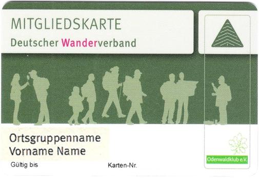 Muster Mitgliedskarte DEUTSCHER WANDERVERBAND