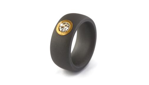 Tantal Ring mit Feingoldfassung