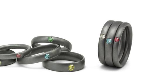 Tantal Ringe mit farbigen Diamanten