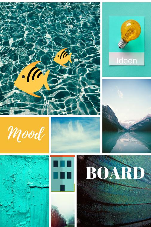 Ein Mood Board mit türkisen Motiven Inspirationen und kreative Wege um Gefühle und Emotionen auszugleichen Integrative Lebenspraxis Berlin Katja Otto freie Therapeuten Lebensberater