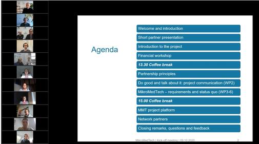 Bild der Agenda vom MMT-Projekttreffen