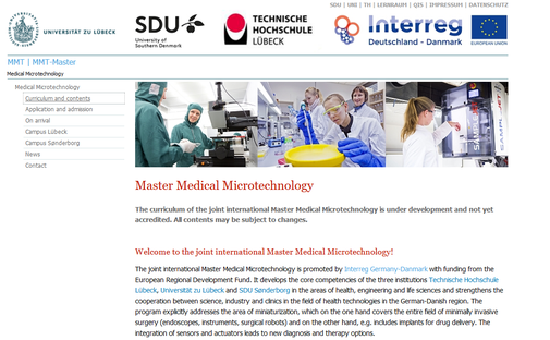 Screenshot von der Website des MMT-Studiengangs