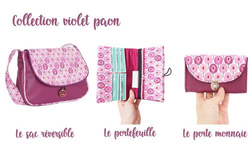 sac réversible portefeuille porte monnaie fait main made in france claire rainette