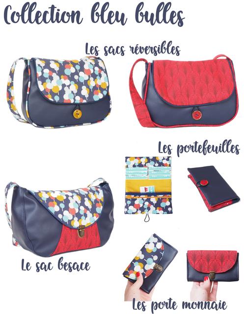 sac à main réversible besace bandoulière portefeuille et porte monnaie fabriqué en France