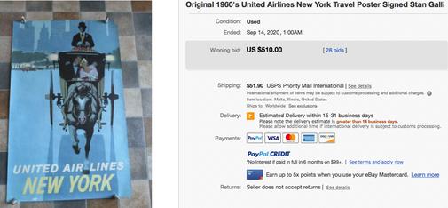 United Air Lines - New York - Stan Galli - Original vintage airline poster