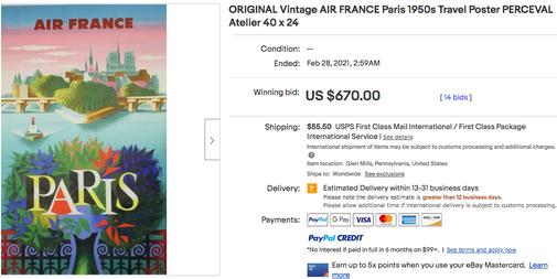 Air France - Paris - Original vintage airline poster