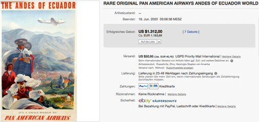 Pan American Airways - The Andes of Ecuador - Paul George Lawler - Original vintage airline poster