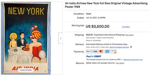 Air-India - New York - Original vintage airline poster