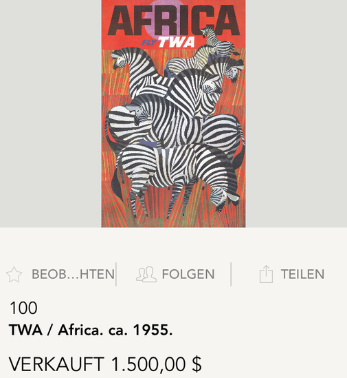 TWA - Africa (Zebras) - Original vintage travel poster by David Klein