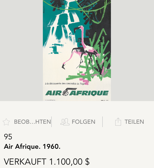 Air Afrique (Flamingos) - Original vintage airline poster