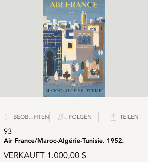 Air France - Maroc Algerie Tunisie - Original vintage airline poster by Villemot