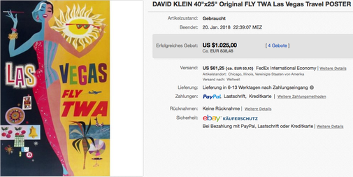 TWA - Las Vegas - Original vintage airline poster - David Klein