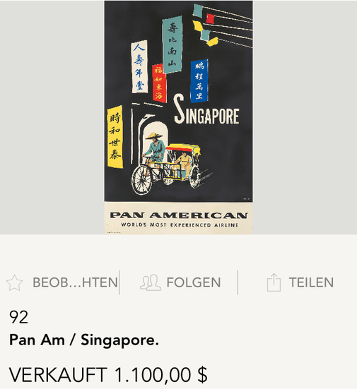 Pan American - Singapore - Original vintage airline poster by A. Amspoker