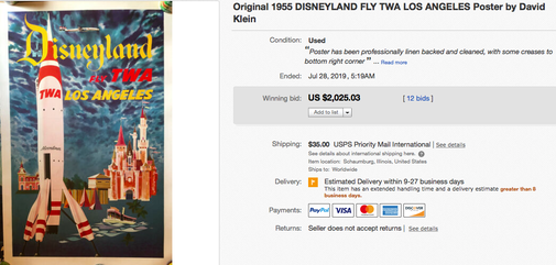 Disneyland fly TWA Los Angeles - Original vintage airline poster by David Klein