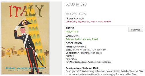 Pan Am - Italy - Original vintage airline travel poster by Aaron Fine