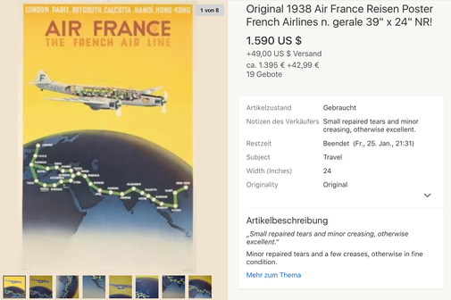 Air France - The French Air Line - Original vintage travel poster