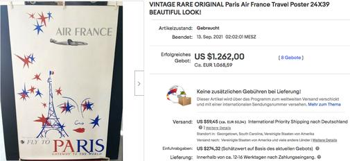 Air France - Paris - Raymond Gid - Original vintage airline poster