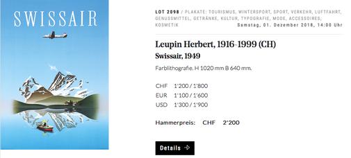 Swissair - Herbert Leupin - 1949 - Original vintage airline poster