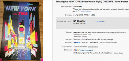 TWA - New York - Jet version - David Klein - Original vintage airline poster