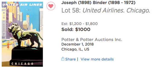United Air Lines - Chicago - Joseph Binder - Original airline poster