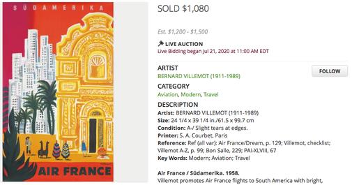 Air France - Südamerika - Bernard Villemot - Original vintage airline poster